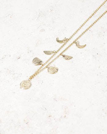 Moon Phases Necklace Gold _