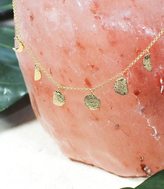 Moon Phases Necklace Gold _2