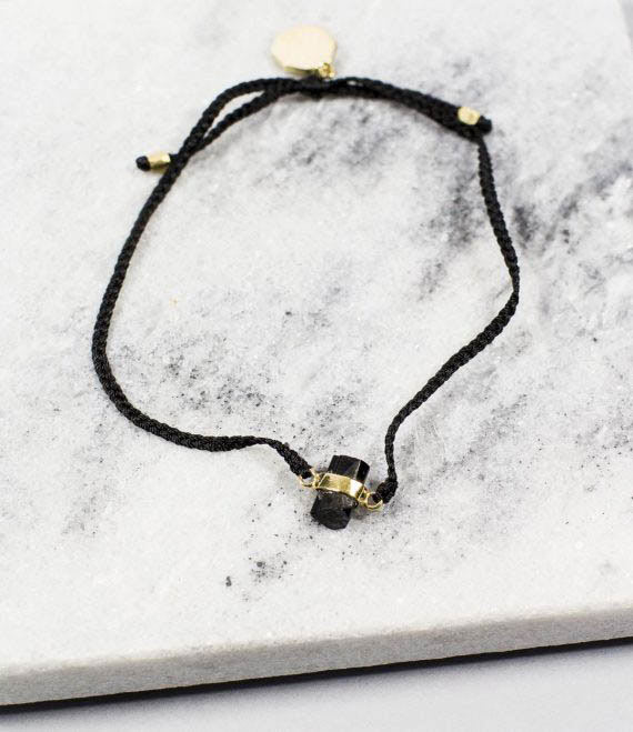 Woven String Bracelet Black Tourmaline Gold