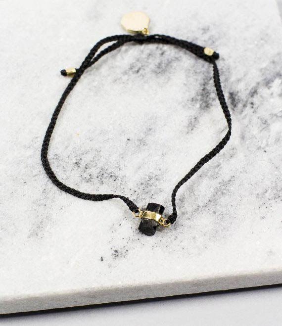 Woven String Bracelet Black Tourmaline Gold