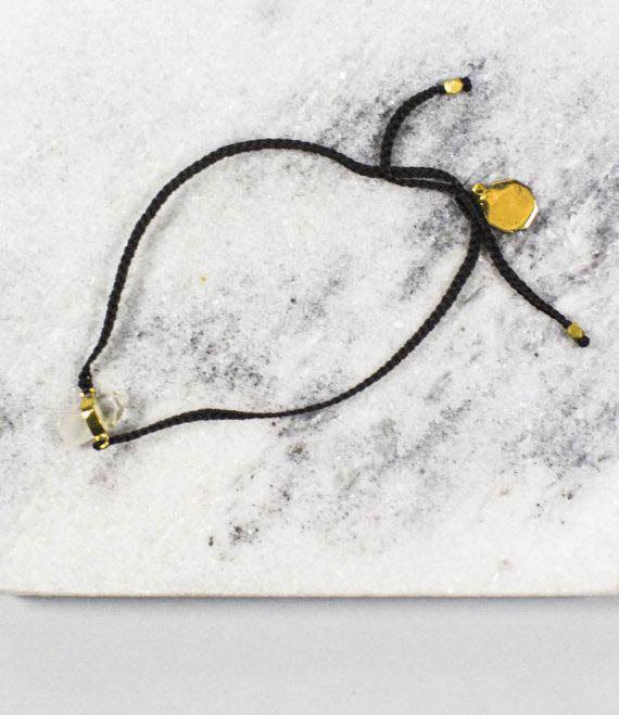 Woven String Bracelet Quartz Gold