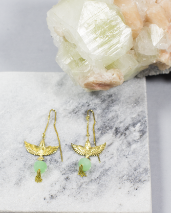 bird earrings chrysoprase