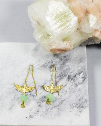 bird earrings chrysoprase