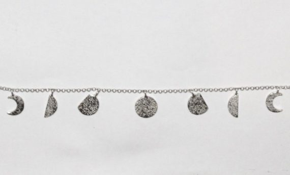 moon phases necklace silver