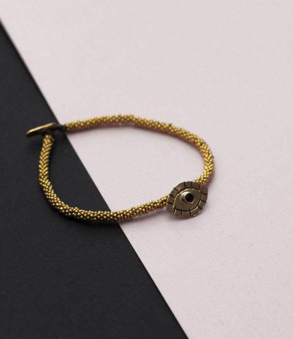 India Bracelet Evil Eye Gold1