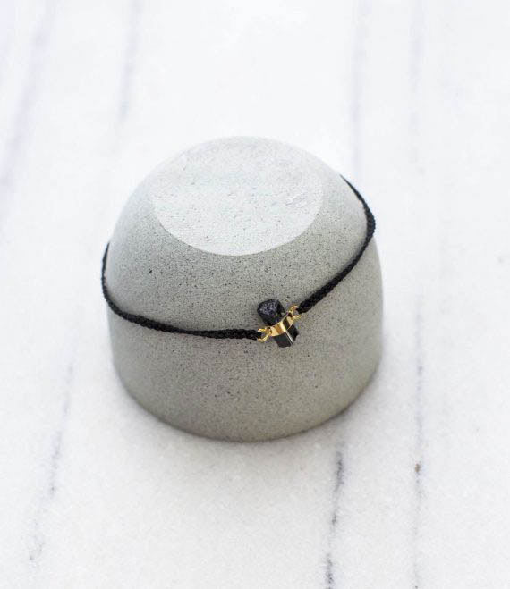 String Bracelet Black Tourmaline Gold