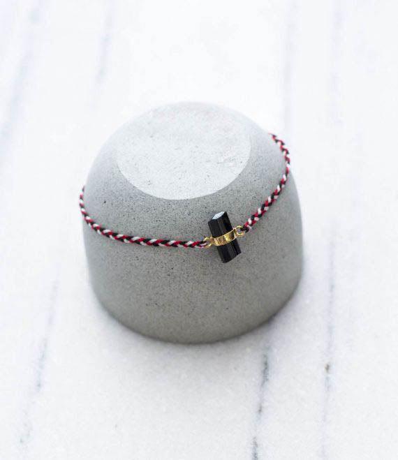 Tridatu Bracelet Black Tourmaline Gold
