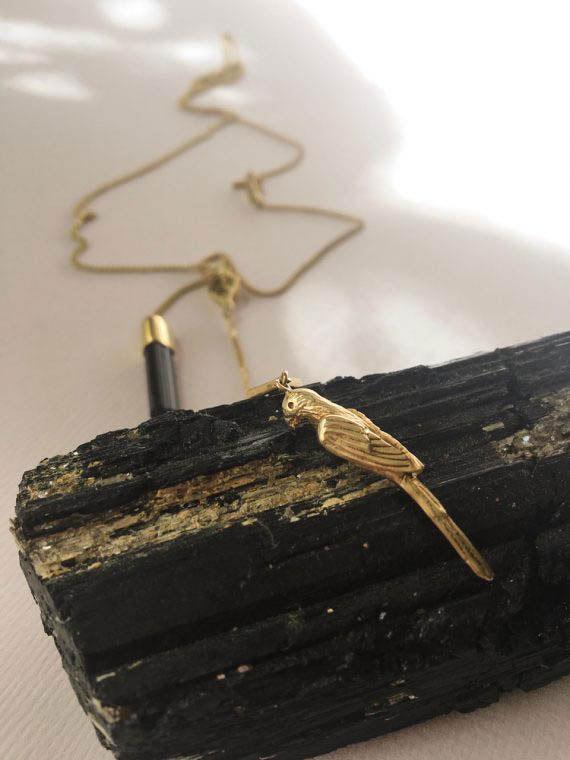 charm parrot necklace tourmaline