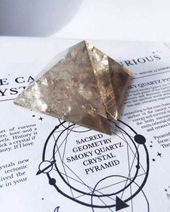 Sacred Geometry Smokey Quartz Crystal Pyramid
