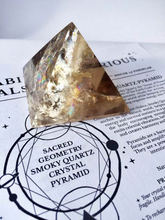 Sacred Geometry Smokey Quartz Crystal Pyramid No2 01