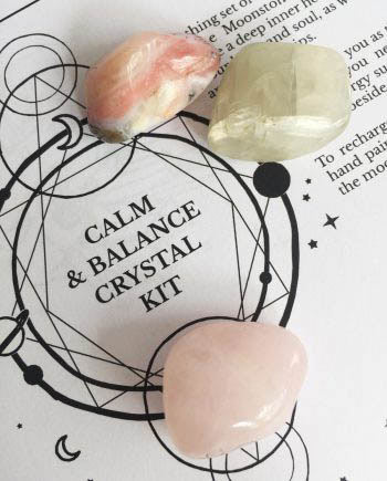 Calm and Balance Crystal kit with Pink Opal Moonstone and Rose Quartz