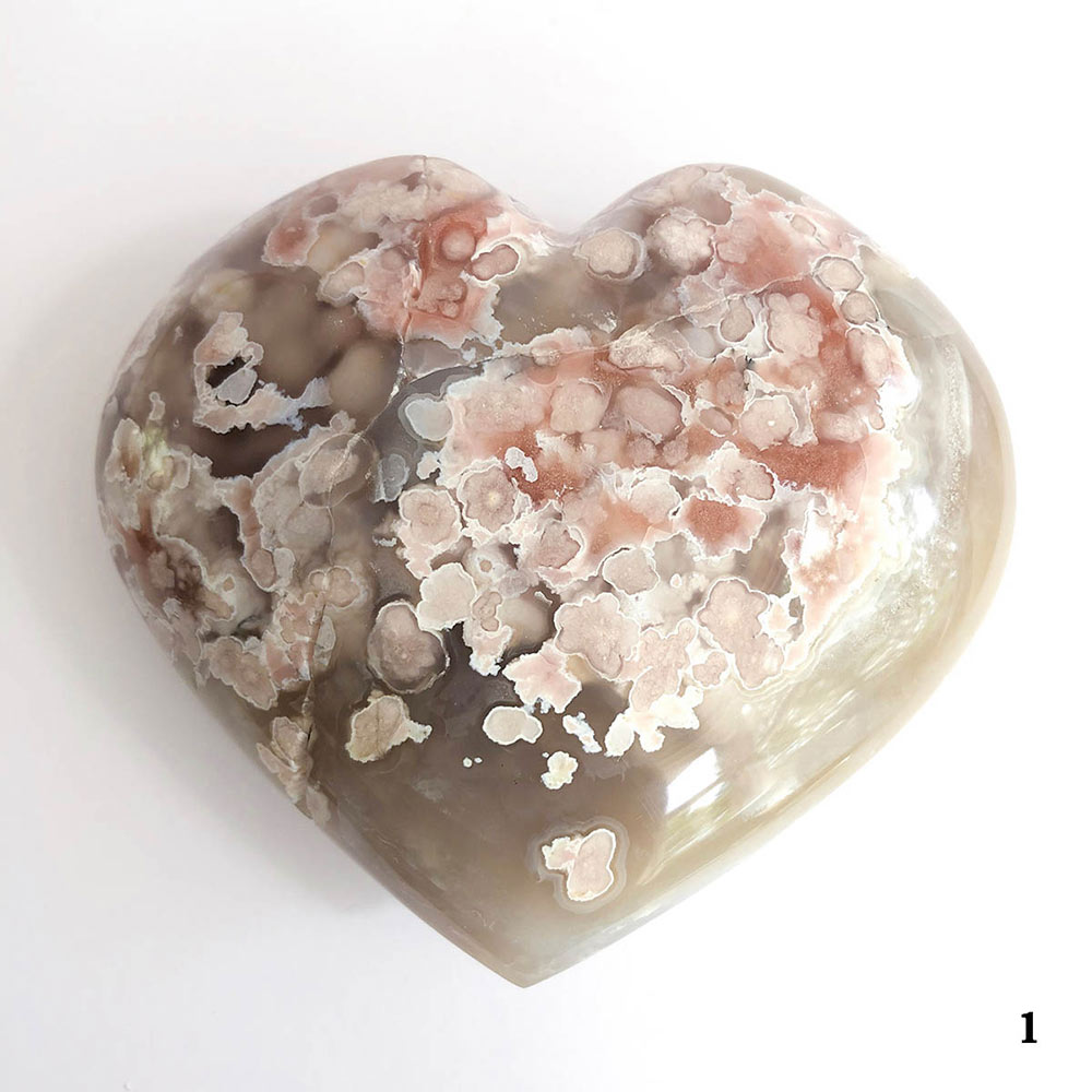 Large Flower Agate Hearts  Cherry Blossom Agate  Sakura Agate  Flowe Agate with Druzy   Flower Agate Crystal  Stone for Heart Charka