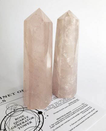 Rose Quartz Crystal Generator Tower