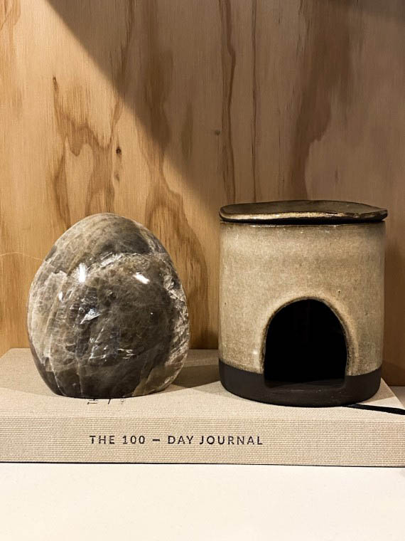 grey moonstone sculpture