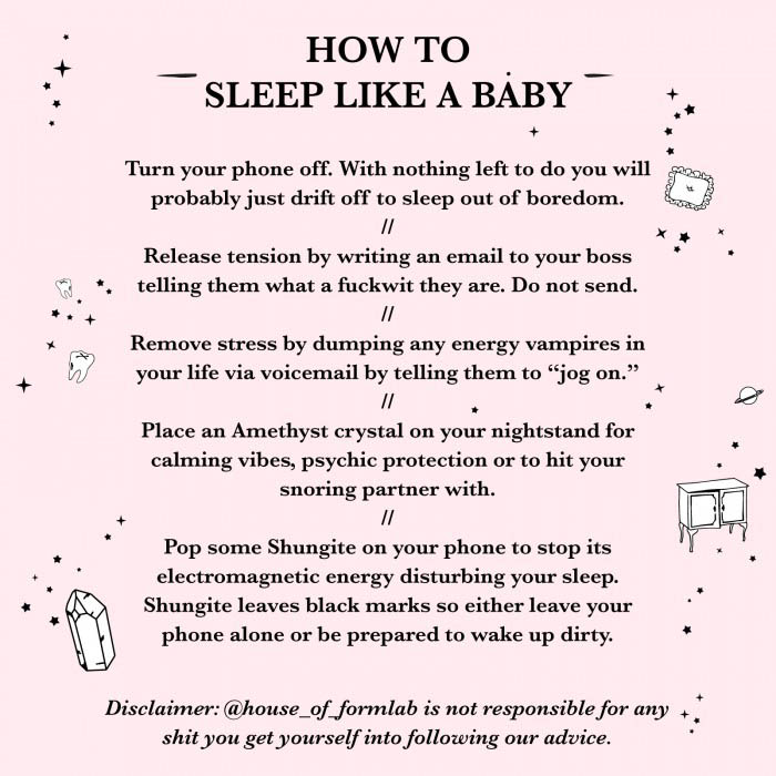 House of Formlab Infographic How to sleep like a baby